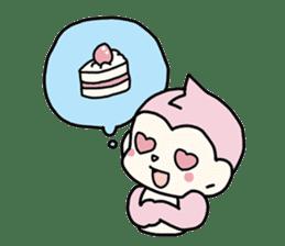 cute pink monkey sticker #1418526