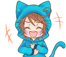 Boy cat ear hood sticker #1495522