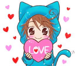Boy cat ear hood sticker #1495527