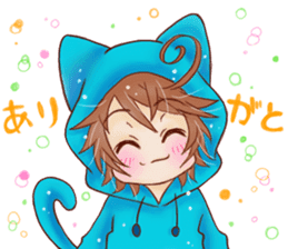 Boy cat ear hood sticker #1495531
