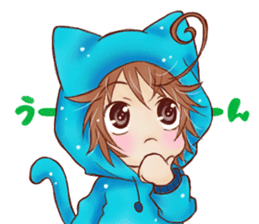 Boy cat ear hood sticker #1495532
