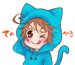 Boy cat ear hood sticker #1495535