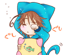 Boy cat ear hood sticker #1495537