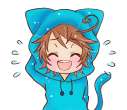 Boy cat ear hood sticker #1495540