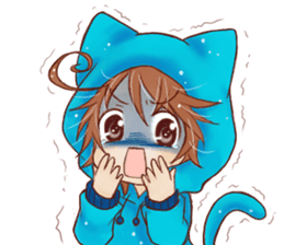Boy cat ear hood sticker #1495541