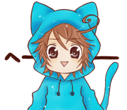 Boy cat ear hood sticker #1495543