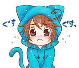 Boy cat ear hood sticker #1495548