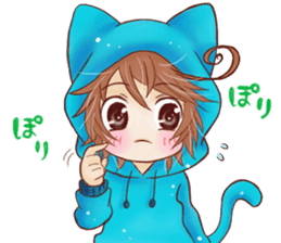 Boy cat ear hood sticker #1495550