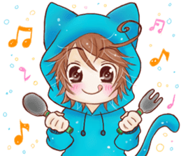 Boy cat ear hood sticker #1495552