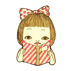 Girl with a dotted ribbon