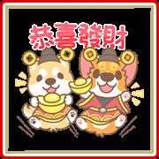 สติ๊กเกอร์ไลน์ Corgi Pon Pon CNY Stickers