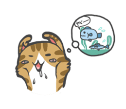 curl cat and a salaried worker sticker #1575341