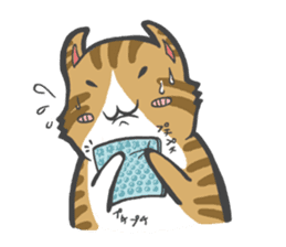 curl cat and a salaried worker sticker #1575348