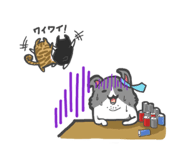 curl cat and a salaried worker sticker #1575366