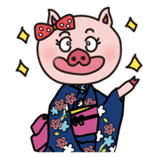 KAWAII SLOW LIFE PIG sticker #1580457