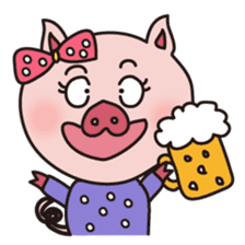 KAWAII SLOW LIFE PIG sticker #1580473