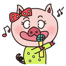 KAWAII SLOW LIFE PIG sticker #1580480
