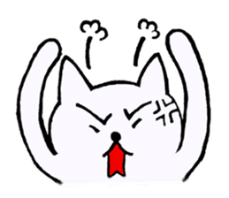 Simple sticker of white cat sticker #1590085