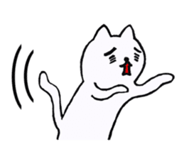 Simple sticker of white cat sticker #1590093