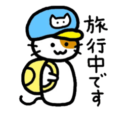 Japanese wooden doll cat sticker #1606024