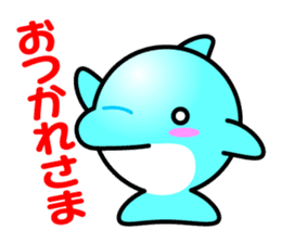 Round whale and a round dolphin sticker #1615881
