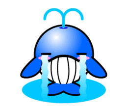Round whale and a round dolphin sticker #1615887