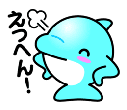 Round whale and a round dolphin sticker #1615889
