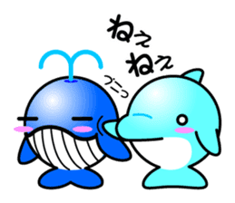 Round whale and a round dolphin sticker #1615909