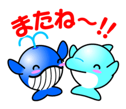 Round whale and a round dolphin sticker #1615912