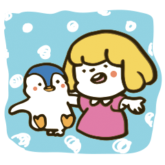 Girl and penguin