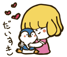 Girl and penguin sticker #1620595