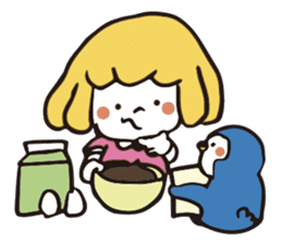 Girl and penguin sticker #1620599