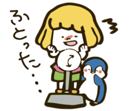 Girl and penguin sticker #1620600