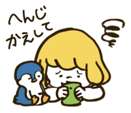 Girl and penguin sticker #1620601