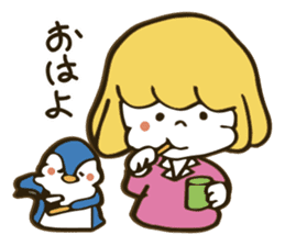 Girl and penguin sticker #1620603