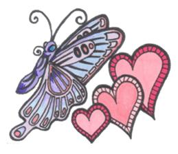 Flower and butterfly sticker #1652113