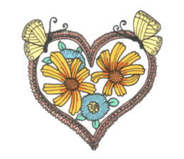 Flower and butterfly sticker #1652114