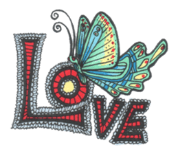 Flower and butterfly sticker #1652116