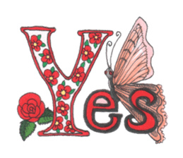Flower and butterfly sticker #1652118