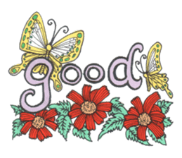 Flower and butterfly sticker #1652123