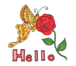 Flower and butterfly sticker #1652125