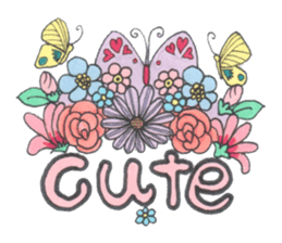 Flower and butterfly sticker #1652134