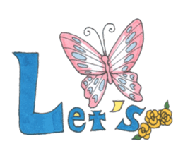 Flower and butterfly sticker #1652136
