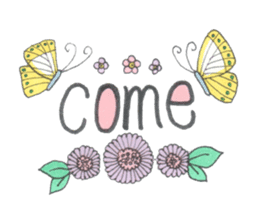 Flower and butterfly sticker #1652138
