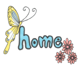 Flower and butterfly sticker #1652139