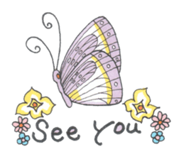 Flower and butterfly sticker #1652141