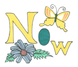 Flower and butterfly sticker #1652151