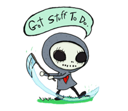 SkullGnome the Cute Grim Reaper sticker #1689584