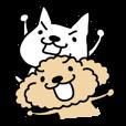 白い犬とトイプー