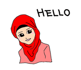 Happy Hijab Girl 1(Eng) sticker #1946757